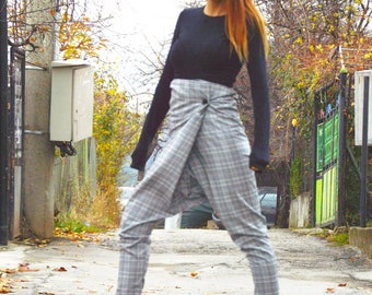 Womens Pants, Extravagant Grey Plaid Pants, Elegant Drop Crotch Pants, Maxi Trousers, Loose High Waist Pants by SSDfashion