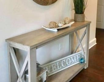 Rustic Weathered X Console Table