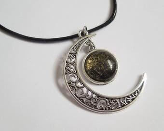 Crescent moon necklace gold glass pendant handmade