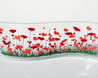 Handmade Fused Glass Art- Poppy Small Wave