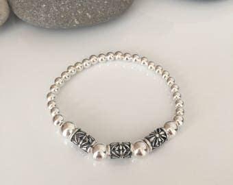 Chunky sterling silver bracelet.  Silver beaded stretch bracelet. Decorative sterling silver bracelet. Chunky silver bracelet. Silver tube.