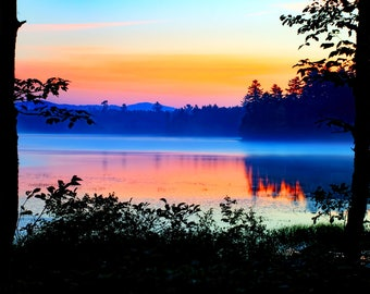 Adirondack Lake Sunrise, Colorful Landscape, Adirondack Print, Adirondack Sunrise, Fine Art Photography, Decorative Print, Nature Art