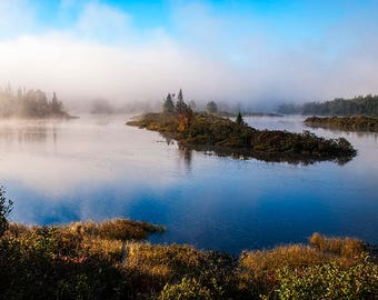 Hudson River, Lake Harris, Adirondack Art, Adirondack Mountains, Adirondack Lake, Misty Fog, Landscape Photo, Home Decor, Nature Photograph