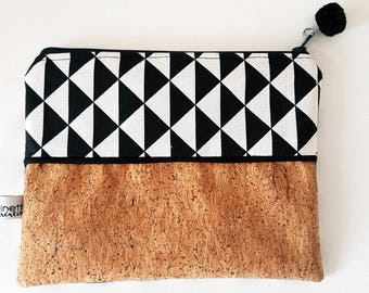 Clutch/cosmetic case * graphic black and white * 19 x 14 cm * Cork glitter and cotton Kit
