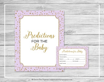 Purple and Gold Baby Shower Predictions for Baby - Printable Baby Shower Predictions for Baby - Purple and Gold Confetti Baby Shower - SP148