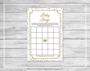 White and Gold Baby Shower Baby Bingo Game - Printable Baby Shower Baby Bingo Game - White and Gold Baby Shower - Baby Bingo Game - SP149