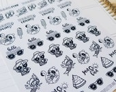 Cora - Summer Fun | mid size monochrome character / action | Planner stickers