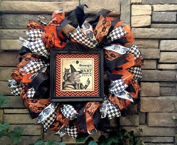 Halloween Witch Wreath, Halloween Wreath, Spooky Wreath, Halloween Wreaths, Witch Wreath, Goth Wreath, Halloween Decor, Primitive Halloween
