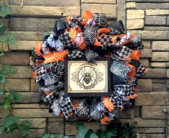 Halloween Wreath, Halloween Wreaths, Vintage Halloween Wreath, Gothic Wreath, Halloween Spider Wreath, Halloween Decoration, Halloween Decor