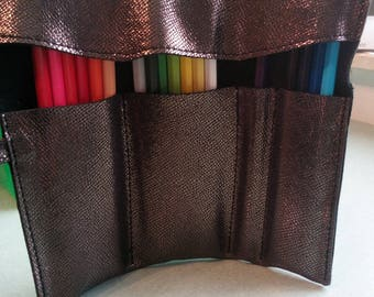 Customizable pouch, pen, markers, brush, shiny bronze brown leather customizable initial or other 4 photos