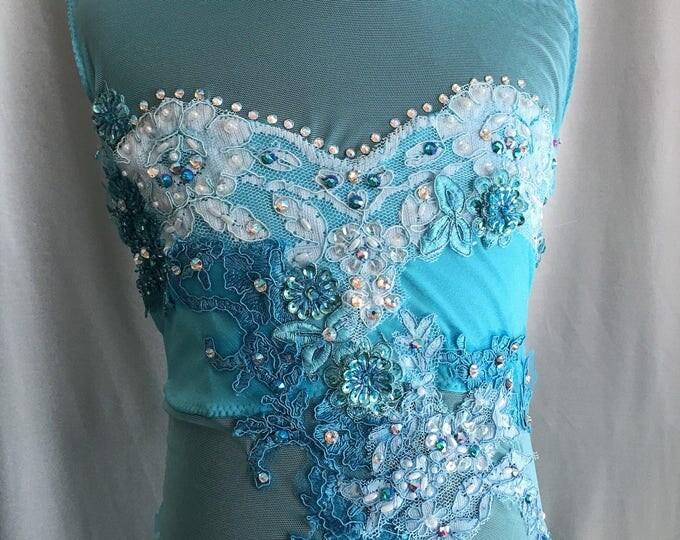 Custom dance costume with swarovski stones, AVAILABLE to SHIP, Lyrical dance costume,  contemporary dance costume, lyrical Dance Costume LC