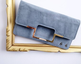 Vintage 70s clutch purse, Blue suede clutch, leather evening clutch, retro clutch, vintage clutch, blue and gold