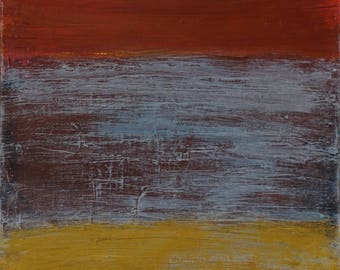 Abstract art, canvas art, painting, red, blue, gold, layers