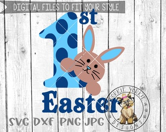 1st First Easter BOY - svg, dxf, png, jpg, My Bunny Faces - Cricut, Cameo, Silhouette, Studio Cut File