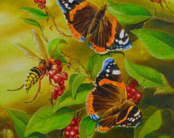 ART print September Waltz. Butterflies and Hornet on honeysuckle