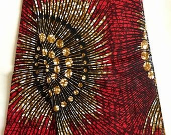African Print Fabric/ Ankara - Dazzling Red & Brown 'Famous', YARD or WHOLESALE