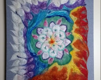 "Felted Painting ""Mandala,"" Nuno Wet and Needle Felted Picture, Fiber Art, 22"" X 28,"" OOAK"