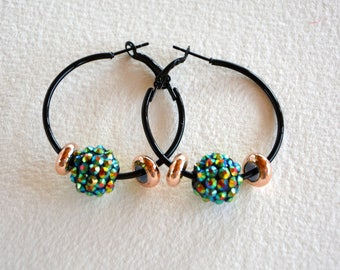 Creole earrings turquoise, black and gold.