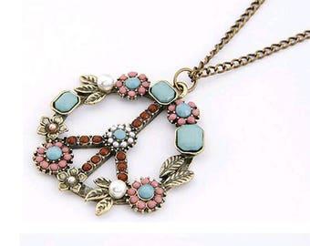 Floral Boho Peace Sign Pendant Necklace