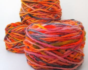 Limited Edition Handspun Hand dyed Pure Bulky Chilean Wool Knitting Multicolor Araucania Chunky  orange yellow grey yarn 100g 3.5oz