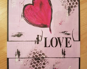 Acrylic painting love pink
