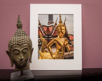 Matted Art Print-Thailand-Temple-Buddha-Buddhist-Religion-Home Office Decor- White Matt-Travel-Asia-Gift-Photo-Art-Grand Palace-Bangkok-Gold