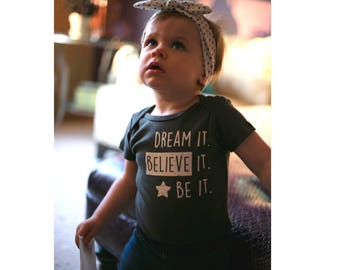 DREAM IT! Organic Baby Onesie, Organic Baby One Piece, Organic Baby Clothes,  Cute Infant Bodysuit, Unique Baby Gift, Baby Boy, Baby Girl