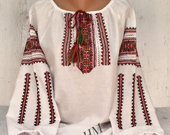 Traditional Handmade Embroidered Ukrainian Blouse Vyshyvanka, Folk Style, Ethno
