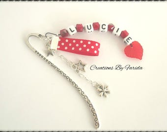 First name, personalized message, red and silver bookmark