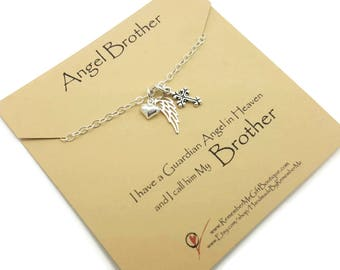 Angel Brother, Loss of Brother, Memorial Gift, Sympathy Gift, Memorial Jewelry, Sympathy Jewelry, Sterling Silver Memorial, Death of Brother