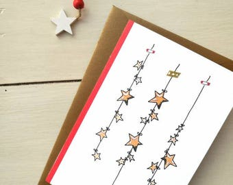 Christmas card, greeting card, personalized ticket, watercolor, Christmas card-Stars