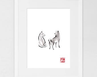 Two Shiba Inu Art Print Poster, Unique Sumi-e Painting Japanese Cute dog Couple Ink Animal Illustration B&W Asia Zen Birthday
