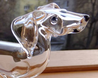 Glass doxie figurine all clear, unique design