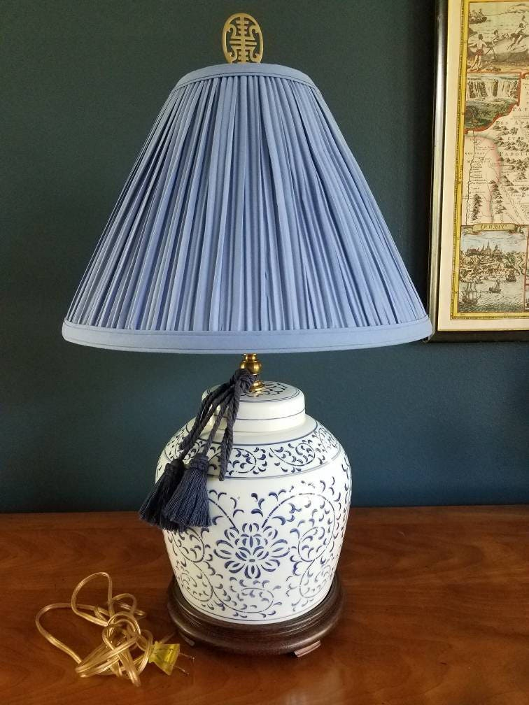 Beautiful Blue And White Ginger Jar Lamp Chinoiserie Lamp