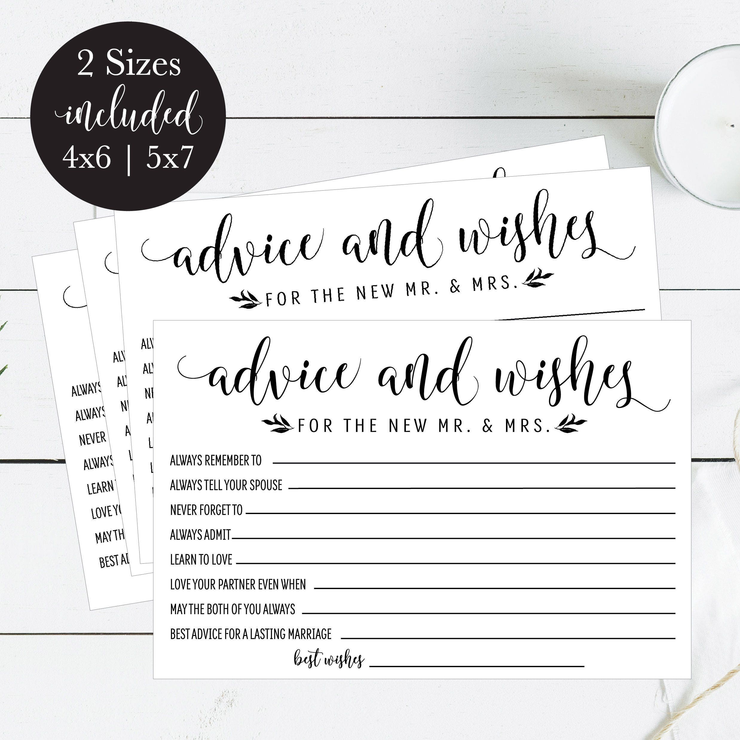 Words of Wisdom Printable Wedding Cards Guest Book Idea