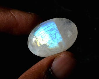 Rainbow Moonstone 23.5 Cts Natural Top Quality Blue Fire/Flash Gemstone Cabochon Oval Shape 25x17x6 MM R14435