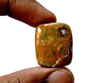 80% Sale Rhyolite Cabochon 23.5 Cts Natural Rainforest Jasper Gemstone Rectangle Shape Loose Cabochon 24x20x5.5 MM AC2512
