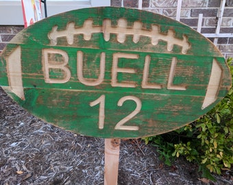 Reclaimed Carved Personalized Wooden Football Sign with Name and Number