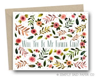 Rustic Floral Will You Be My Flower Girl Greeting Card - Flower girl Notecard, Card for flower girl, flower girl ask card