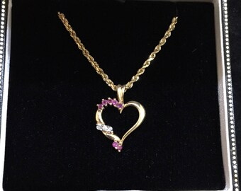 Gorgeous Ladies 14kt Yellow Gold Diamond and Ruby Heart Pendant