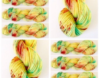 DK wieght Polwarth. Sunshine.Light worsted. Hand Dyed Yarn. Hand painted Speckled Yarn 100% Polwarth wool 100g.