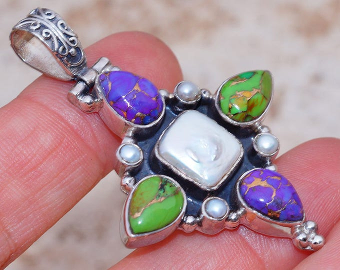 Featured listing image: Genuine Biwa Pearl with Green and Purple Copper Turquoise set in Solid 925 Sterling Silver Pendant