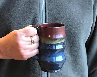 Valentine Blue and Bronze Wavy Mug - Tea Mug  Hot Chocolate Mug Pottery Mug Earthy Mug Ceramic Black Mug Pottery Mug Unique Mug