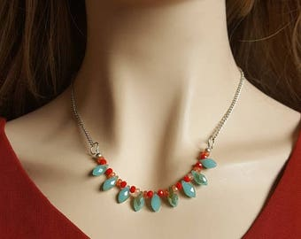 CLEARANCE Aqua and Red Statement Necklace
