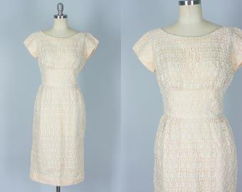 Vintage 1950s Dress | Blush Wiggle Dress with Ivory Eyelet Overlay | Extra Small