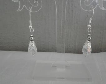 Silver hematite beads and bicone earrings transparent evening, holiday, wedding