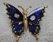 Enamel Look and Glitter Butterfly Pin