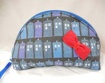 Doctor Who Tardis Zipper Pouch with Red Bow Tie Accent