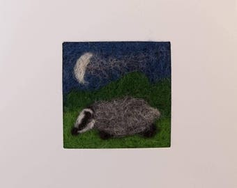Badger in moonlight  needle felt greetings card. Needle felted picture on a linen panel in a blank card for your own message