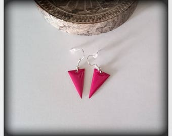 Fuchsia enamel triangle earrings